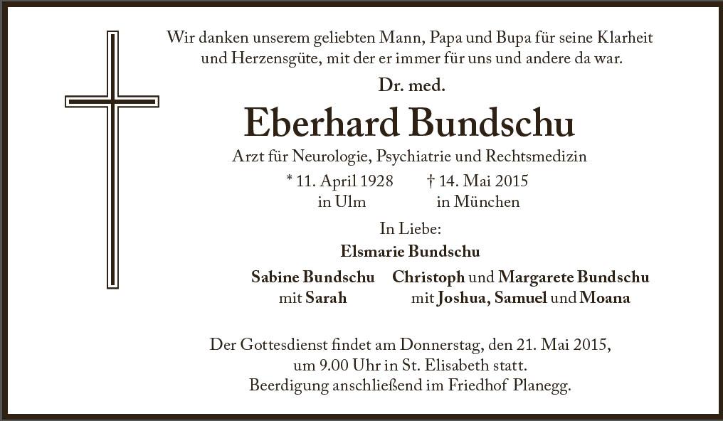 Dr. Eberhard Bundschu Togesanzeige